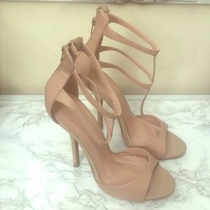 Blush/nude strappy heels